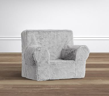 pottery barn my first anywhere chair covers tauranga gray faux fur plush chair® | kids