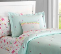 Oxford Embroidered Flamingo Duvet Cover | Pottery Barn Kids