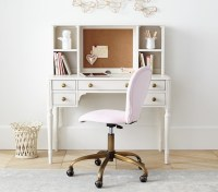 Round Upholstered Desk Chair, Brass Base   Pottery Barn Kids