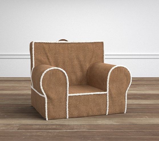 Natural Suede with Sherpa Trim Anywhere Chair  Pottery