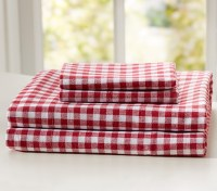 Buffalo Check Flannel Sheet Set, Queen, Red | Pottery Barn ...