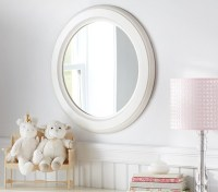 Distressed White Wood Round Mirror | Pottery Barn Kids