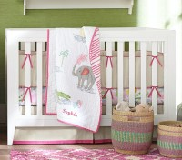 Jungle Safari Baby Bedding Set- Bright Pink | Pottery Barn ...