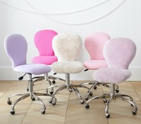 Round Upholstered Desk Chair, Brushed Nickel Base ...