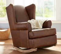 Leather Wingback Convertible Rocker & Ottoman | Pottery ...