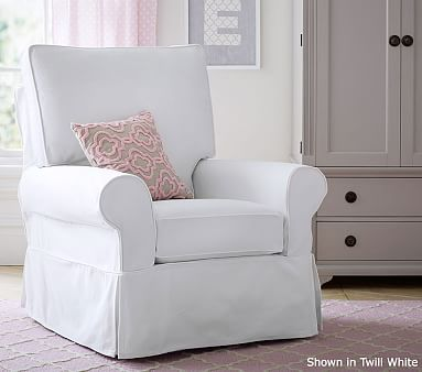 pottery barn baby rocking chair wooden cushions pb kids® grand comfort swivel rocker & ottoman | kids