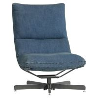 Denim Maverick Swivel Lounge Chair & Ottoman | PBteen