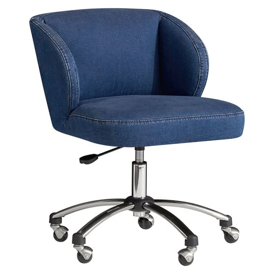Washed Denim Wingback Desk Chair  PBteen