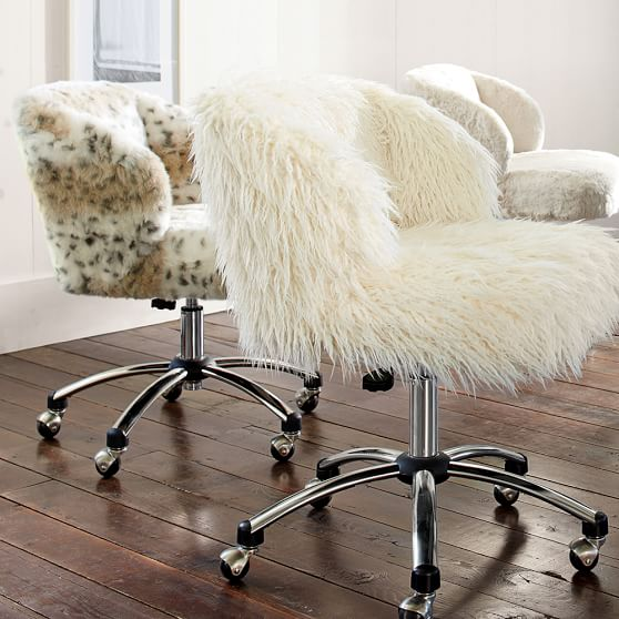desk chair casters adjustable height ikea ivory furlicious wingback | pbteen