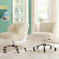 Ivory Sherpa Faux-Fur Wingback Desk Chair | PBteen