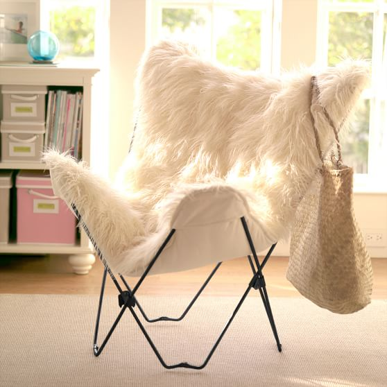 Ivory Furlicious FauxFur Butterfly Chair  PBteen