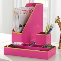 Printed Paper Desk Accessories Set- Solid Pink With Gold ...
