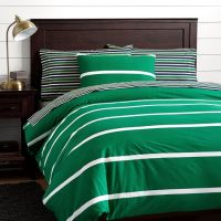 Boathouse Stripe Duvet Cover + Sham, Bright Green | PBteen