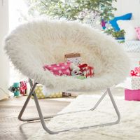 Ivory Furlicious Faux-Fur Hang-A-Round Chair | PBteen