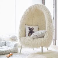 Ivory Furlicious Faux-Fur Cave Chair | PBteen