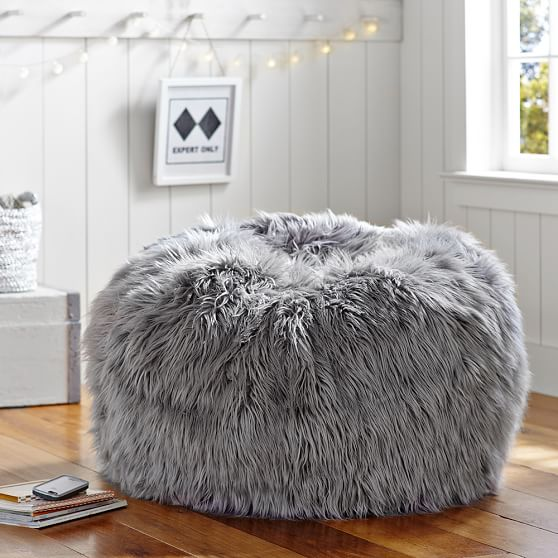 bean bag chairs amazon antique rocking 1700s gray fur-rific beanbag | pbteen