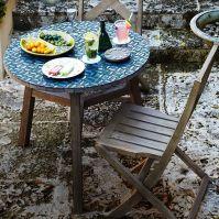 Mosaic Tiled Bistro Table - Indigo Hex Top + Driftwood ...