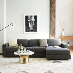 Grey Tweed Sectional Sofa Living Room Ideas With Dark Brown Sofas Urban 2-piece Chaise | West Elm