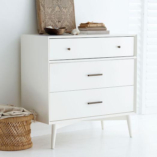 MidCentury 3Drawer Dresser  White  west elm