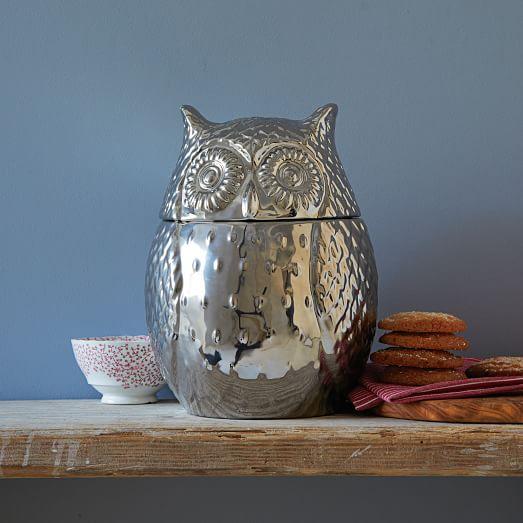 owl kitchen rugs decorative accessories metallic cookie jar   west elm