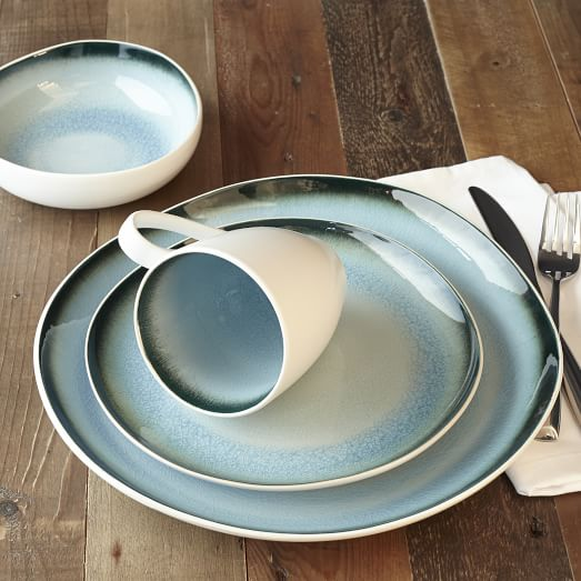 Organic Shaped Crackle Dinnerware Blue West Elm