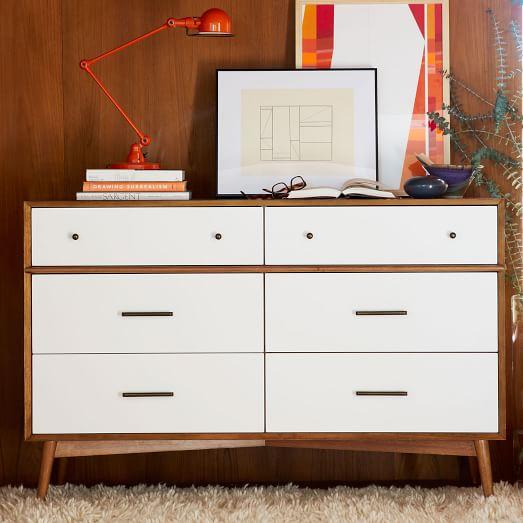 MidCentury 6Drawer Dresser  White  Acorn  west elm