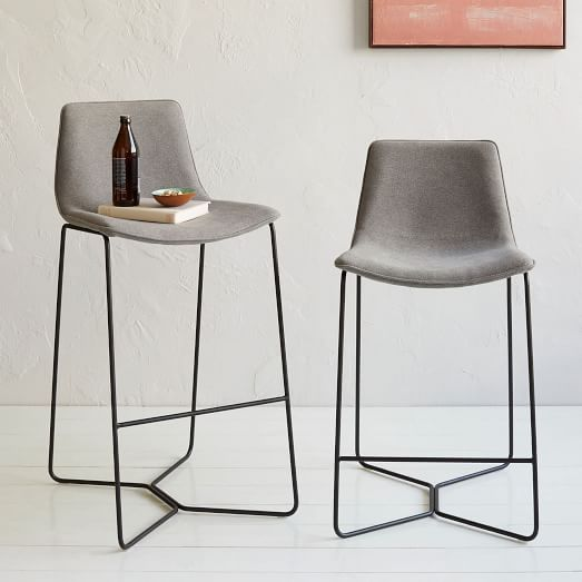 chair upholstery fabric nz blue checked covers slope upholstered bar + counter stools | west elm