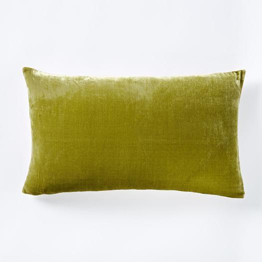 Luxe Velvet Lumbar Pillow Cover  Citron  west elm