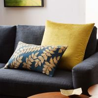 Metallic Laurel Leaves Pillow Cover - Regal Blue | west elm