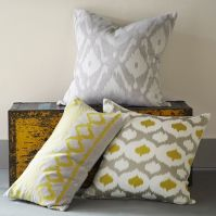 Velvet Ikat Embroidered Ogee Pillow Cover | west elm