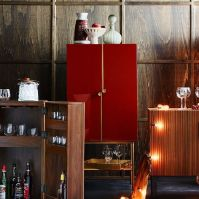Downing Bar Cabinet - Paprika/Antique Brass | west elm