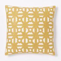 Modern Crewel Lattice Pillow Cover - Horseradish | west elm