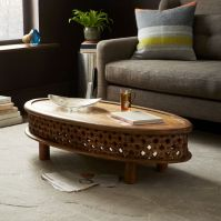 Carved Wood Ellipse Coffee Table - Natural | west elm