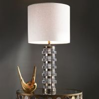 Clear Disc Table Lamp - Large (Polished Nickel/White Linen ...