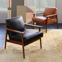 Mid-Century Leather Show Wood Chair | west elm