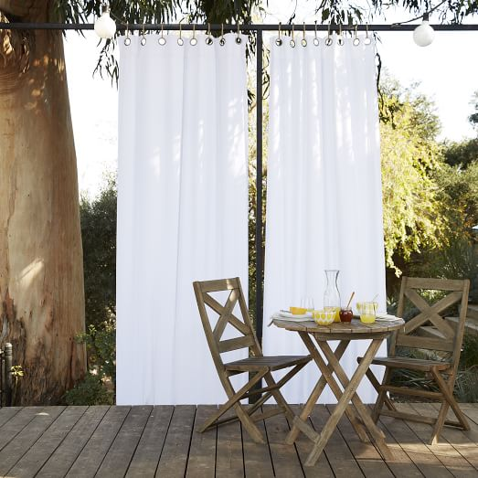 Solid Outdoor Curtain  White  west elm