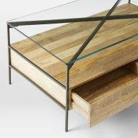 Glass-Topped Industrial Storage Coffee Table | west elm