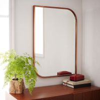 Metal Framed Asymmetrical Wall Mirror - Rose Gold | west elm