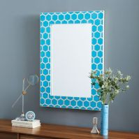 Bone Inlaid Wall Mirror - Turquoise   west elm