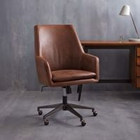 Helvetica High-Back Leather Office Chair | west elm