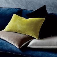 Luxe Velvet Lumbar Pillow Cover - Black | west elm