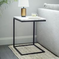 Box Frame C-Base Side Table - Marble/Antique Bronze   west elm