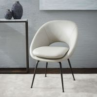 Orb Leather Dining Chair - Cement/Antique Bronze | west elm