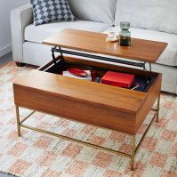 Storage Coffee Table - Walnut/Antique Brass | west elm