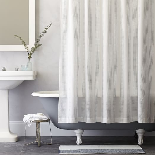 Dotted Stripe Shower Curtain Light Pool West Elm