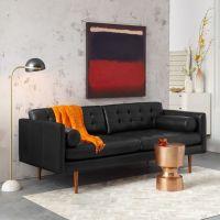 mid century leather sofa   Roselawnlutheran
