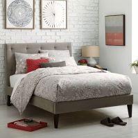 Narrow-Leg Upholstered Bed Frame - Dove Gray | west elm