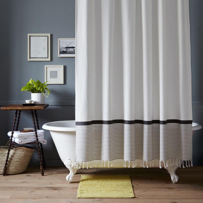 Stripe Border Shower Curtain Stone White Platinum West Elm
