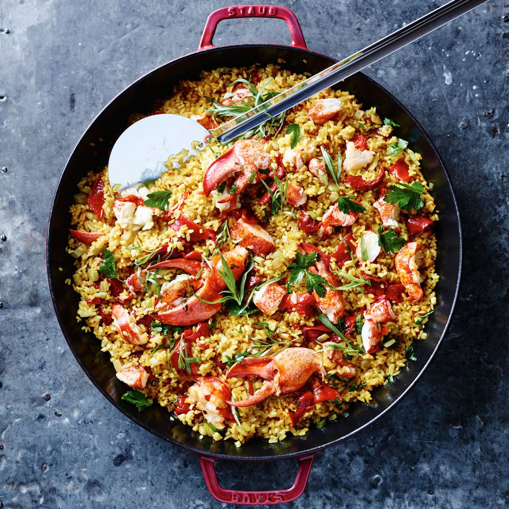 kitchen essentials from calphalon locking trash can lobster paella | williams sonoma