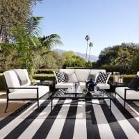 Patio Stripe Indoor/Outdoor Rug, Black | Williams-Sonoma